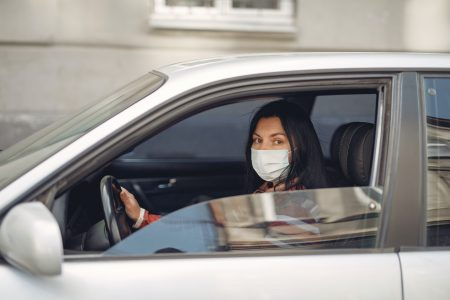 Young Woman Wearing Medical Mask Driving Car 3983417